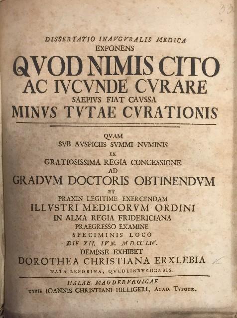 Title-page of Dorothea Erxleben's dissertation