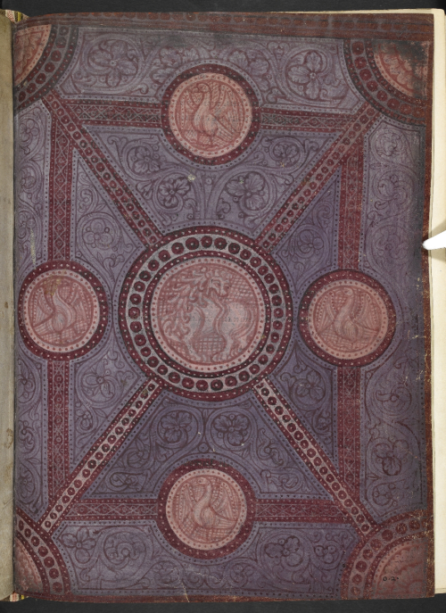 'Carpet' page, resembling a textile, with a central medallion of a lion and four corner medallions of birds