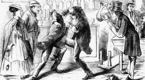 Two men fighting in a pub watched by other customers- Illustrated Police News 17 April 1869