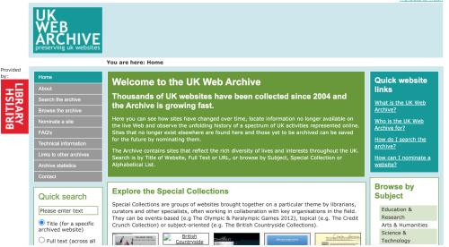 UKWA website 2010