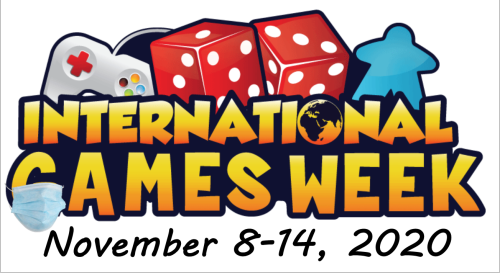 International Games Week logo with a games controller, 2 dice and a meeple