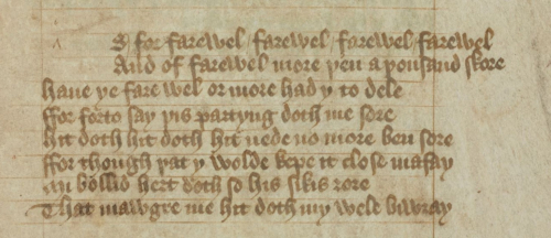 A poem by Charles of Orléans written in brown ink in a Gothic cursive script