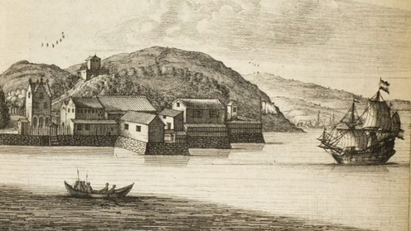 Firando (Hirado) from the sea 1669 with a Dutch ship