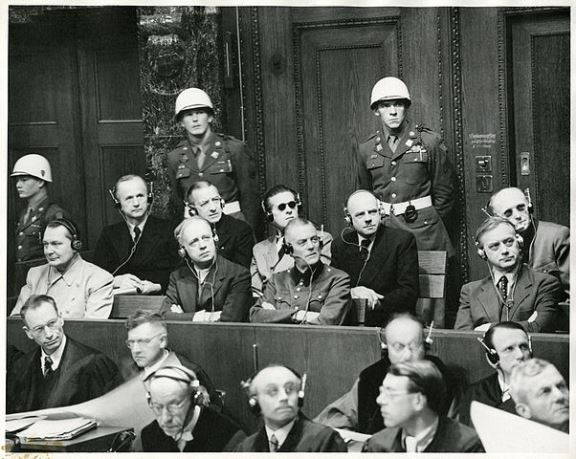 Image of Nuremberg Trials defendants in the dock 1945