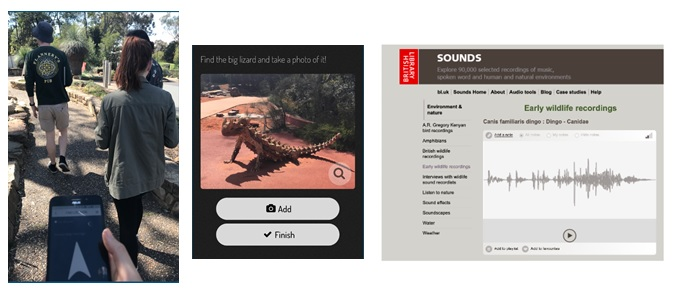Fig 4 (Left)Testing the app at the Australian National Botanical Gardens, (Middle) An example of one of the tasks to complete in ActionBound (Right) Example of sound file from the British Library (a dingo)