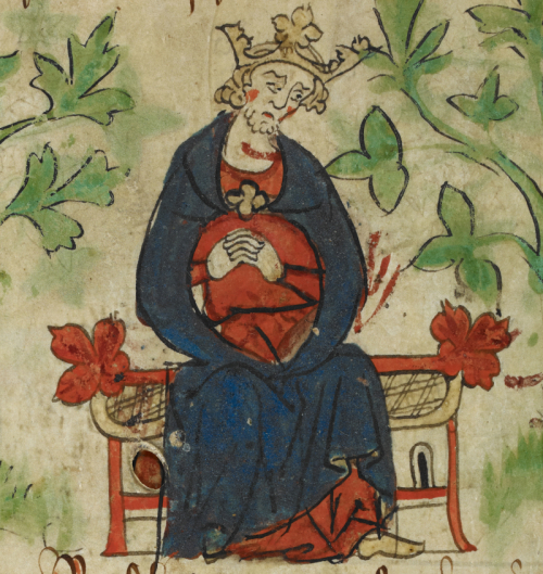 A detail from a manuscript of Peter of Langtoft's Chronicle, showing an illustration of King Henry I wringing his hands in grief at the death of his son.