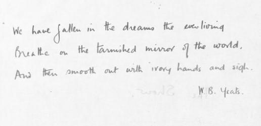 Wilfred Owen's handwritten quote from W B Yeats