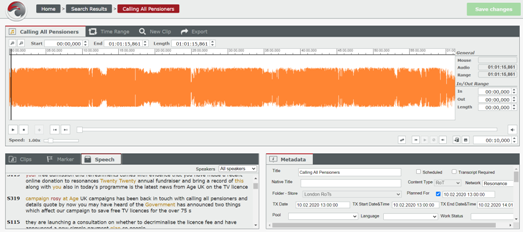 Screengrab of the National Radio Archive management system