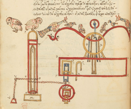 A manuscript illustration showing Hero's installation for animating birds in fountains