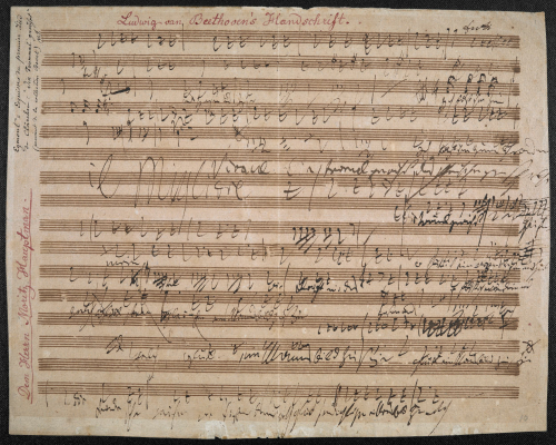 This single leaf of sketches contains Beethoven's initial musical ideas for the song 'Die Trommel gerühret' from his incidental music to Goethe's play Egmont.