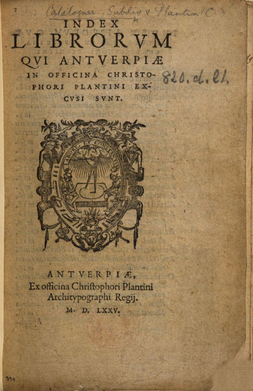 Title page of Index librorum qui Antverpiæ in officina C. Plantini excusi sunt