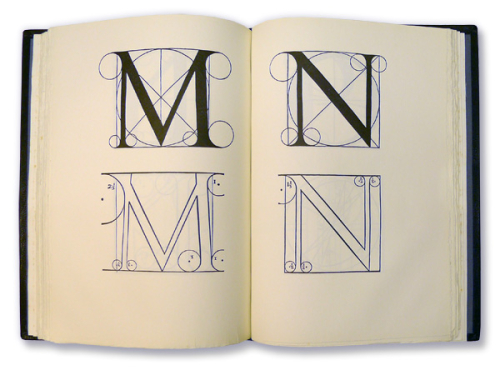 Pages from Mardersteig's re-edition of Bodoni's Manuale tipografico, 1788 showing the letters M and N