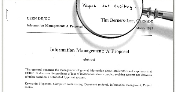 Tim Berners-Lee's original CERN proposal with the 'Vague but exciting...' annotation