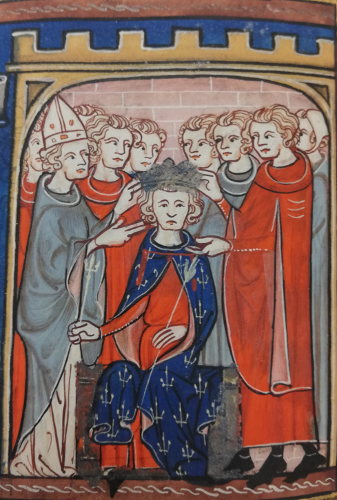 The pope crowns Charles of Anjou, who sits in the middle, wears a blue cloak and holds two gold-coloured sceptres with a fleur-de-lis.