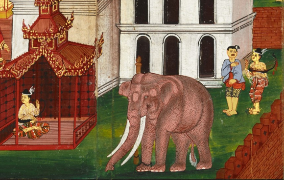 The Bodhisatta goes to stay with the keeper of the red elephant, and recovers from his heartache by playing his harp. British Library, Or 13538, f. 65r