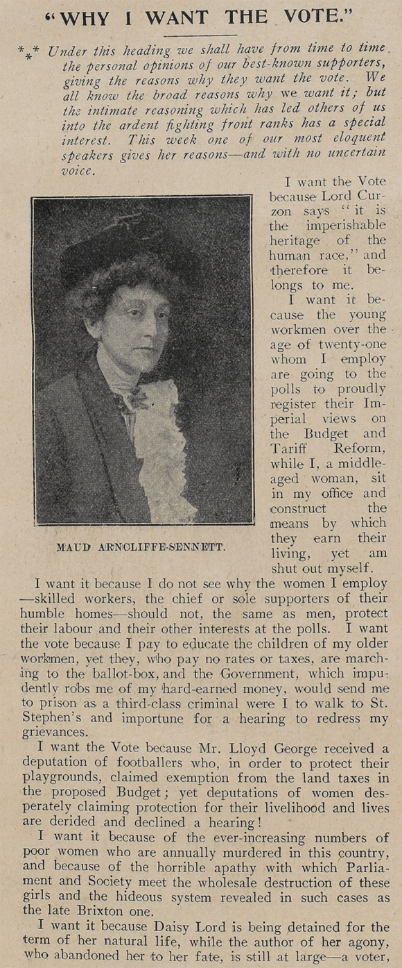 Article 'Why I want the vote' published in The Vote 26 February 1910