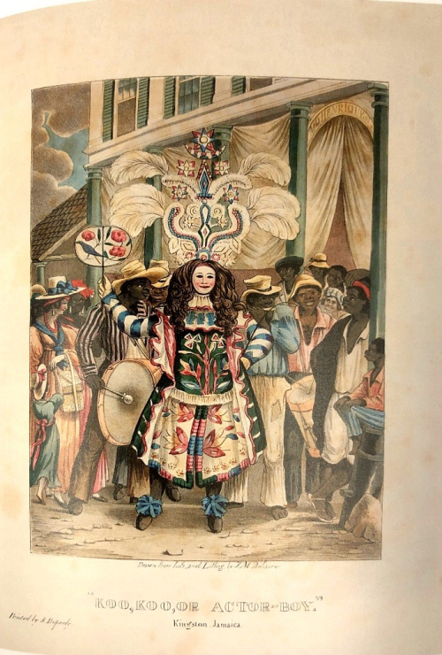 Colourful painting of a street scene with a man dressed in costume with a feathered headpiece.