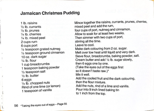 Recipe for Jamaican Christmas pudding