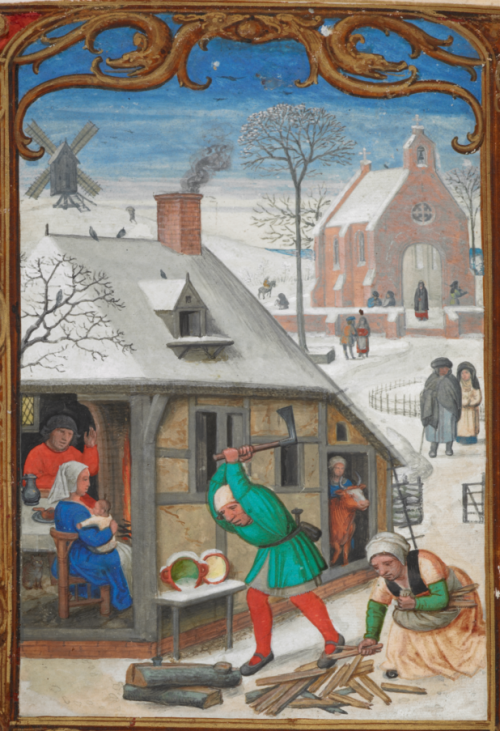 A snowy winter scene, including a man chopping wood for a woman to gather, and a domestic interior with a man, woman, and a baby, with, in the border below, men pulling a companion on a sledge.