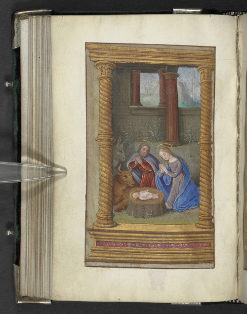 The Holy Family with the ox and ass in a Book of Hours
