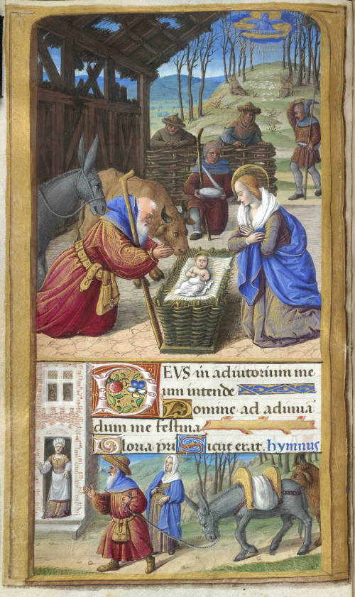 Nativity scene in two parts with shepherds above and Mary and Joseph arriving at the inn (below), from 'The Tilliot Hours