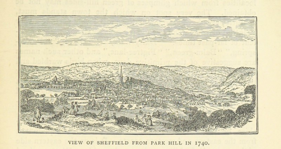 Map displaying view of Sheffield from Park Hill in 1740