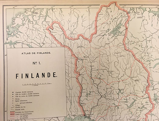 Atlas de Finlande, the frontier