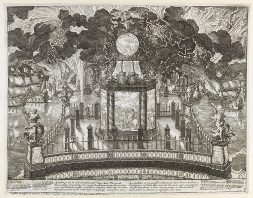 An 18th-century firework display in The Hague with allegorical and mythological figures