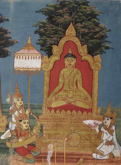 The Buddha meditating under the Bodhi tree, with the devas Sakka, Brahma and Mahākāla next to him singing songs of praise
