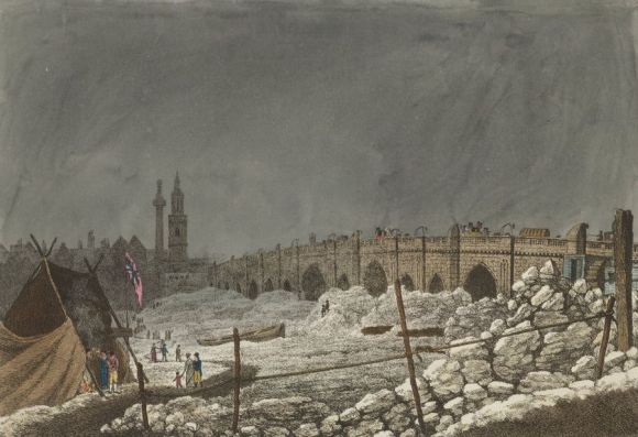 Ice at London Bridge when the River Thames froze in February 1814  showing boats stranded and people walking on the frozen water