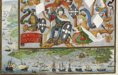 A manuscript image of a genealogical tree of the kings and queens of Portugal from Alfonso Anriquez; in the lower margin is the port of Lisbon, with sailing ships outside the harbour