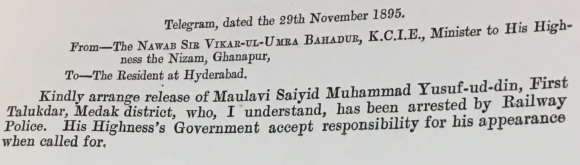 A copy of a telegram dated on behalf of the Nizam of Hyderabad calling for the release of Yusufuddin