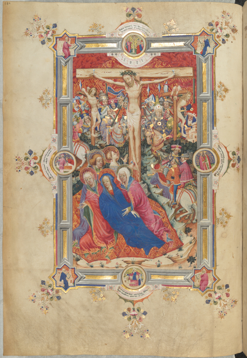 A miniature of the Crucifixion from the Sherborne Missal