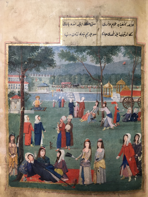 Painted image of a park scene inside a palace with women and men in 18th century Ottoman dress engaged in various leisure activities, including conversation and music, with a body of water in the background