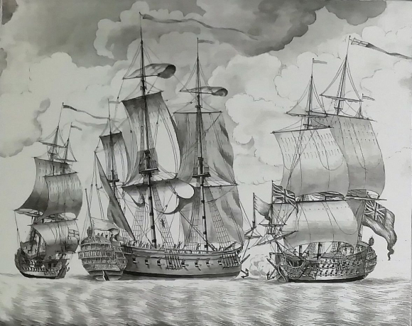 Drawing showing the three East India ships in the line of battle