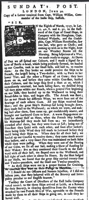 Letter from Captain William Wilson of the Suffolk reporting the action against the French published in the Newcastle Courant newspaper
