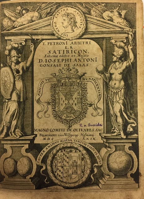 Illustrated title page of Petronius, Satyricon. Extrema editio ex musæo