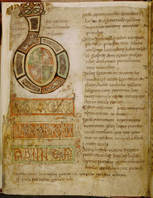 A decorated initial B in a manuscript of Bede's Ecclesiastical History