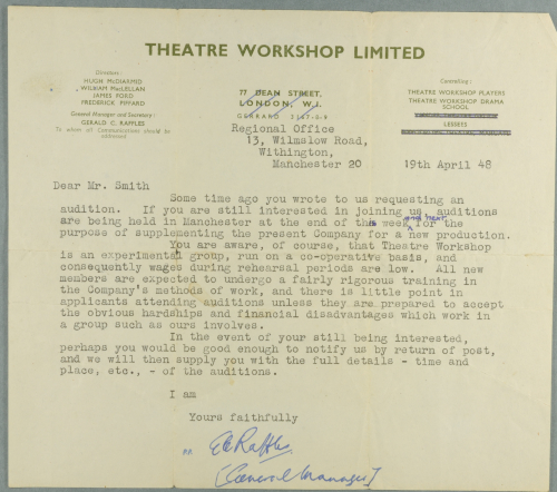 Letter sent by gerry raffles theatre workshops manager to a prospective member of the company