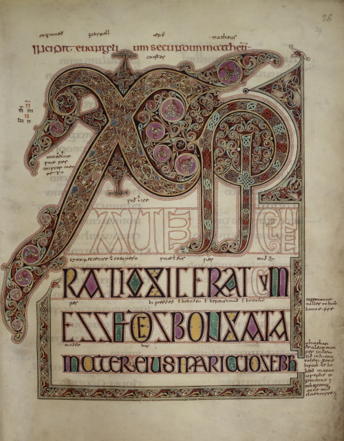 A decorated page from the Lindisfarne Gospels