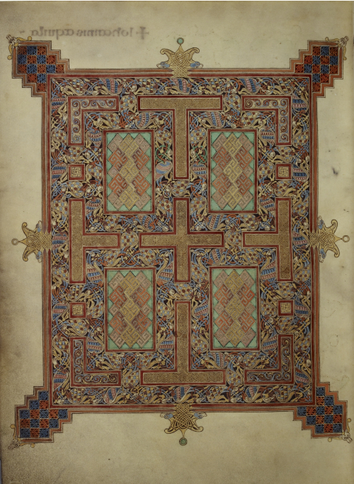 A decorated carpet page in the Lindisfarne Gospels
