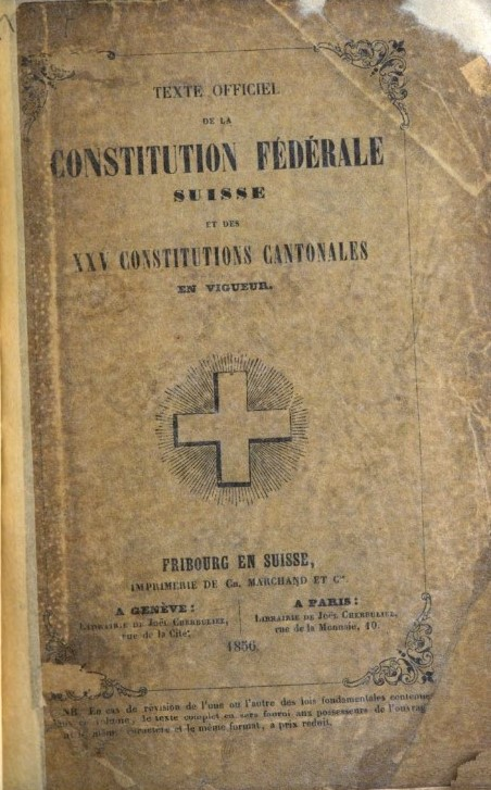 Cover of a French-language edition of the Swiss Constitution
