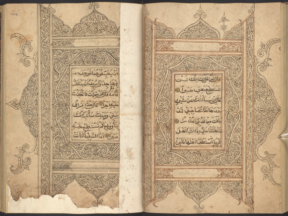 Damaged monochrome decorated frames in the centre of a Qur'an from Aceh, at the beginning of juz' 16, 19th century. British Library, Or 15406, ff. 147v-148r.
