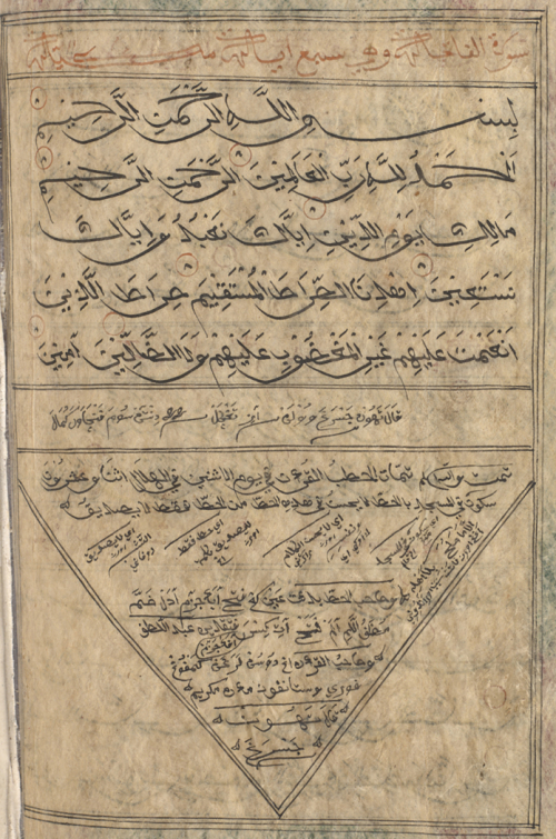 Final page of a Qur'an from Madura, with a repetition of the Surat al-Fatihah, with the colophon below in the triangular panel. British Library, Or 15877, f. 297v
