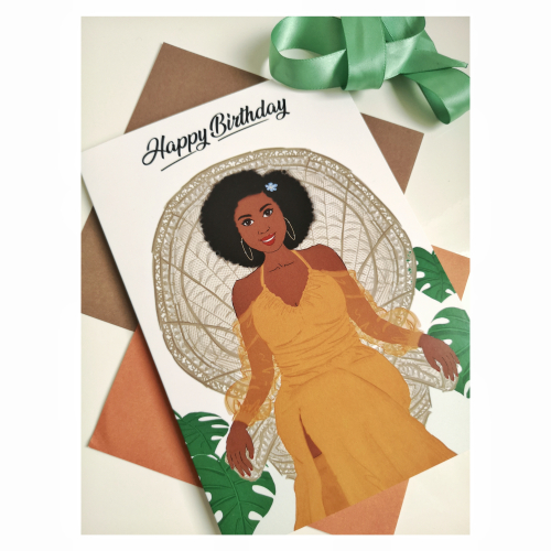 Nicola Lespeare greeting card with a Black woman wearing an orange dress