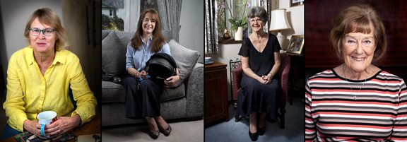 Portraits of Carol Atkinson, Susan James, Sarah Herbert and Shirley Jenkins by Bill Knight