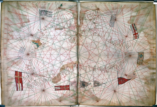 Two page portolan chart of the Black Sea, showing the Danube River, with flags of Constantinople and the surrounding states