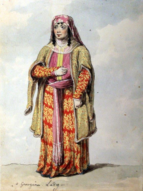 Illustration of a woman in traditional Georgian dress