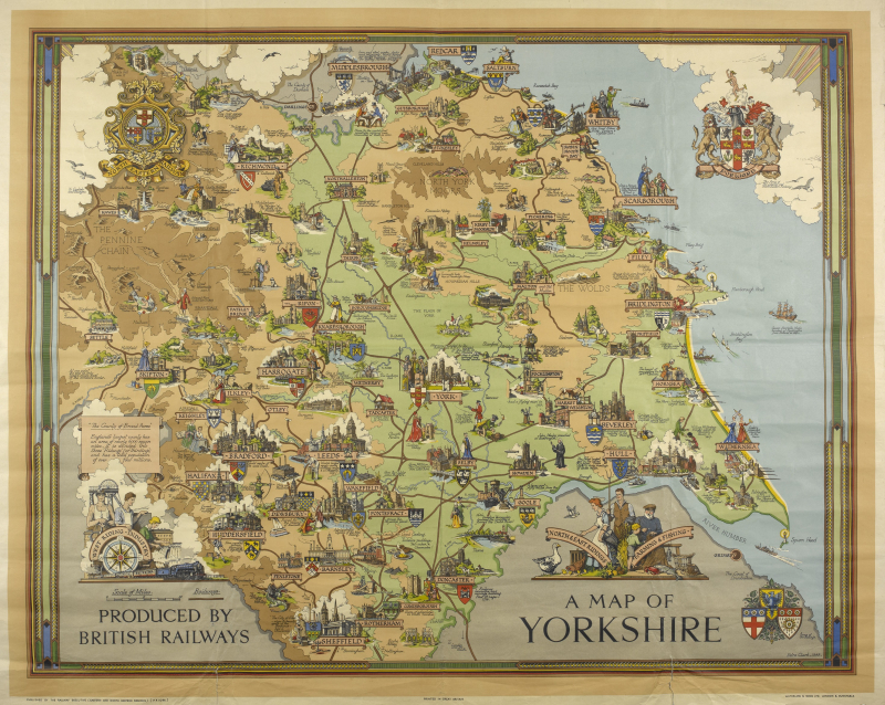 An illustrated map of Yorkshire with Filey pictured on the coast