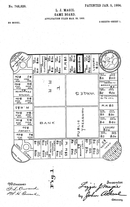 Patent for The Landlord's Game, precursor to Monopoly